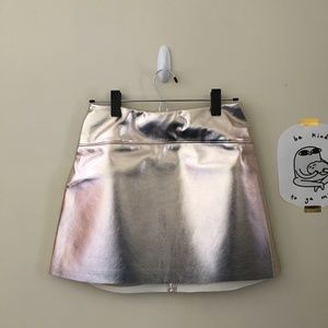 Silence + Noise Rose Gold Faux Leather Mini Skirt